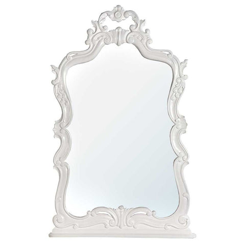Belle Chambres Tono White Wooden Carved Overmantle Mirror J6006-TW