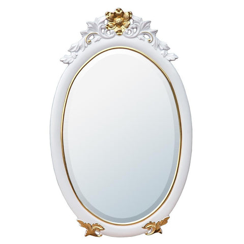 Classic Charm White and Gold Oval Wall Mirror MIR-012-WHGO