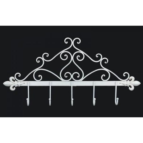 Antique Coat Hook Rail Wall Mounted in White Iron XX8880-AW