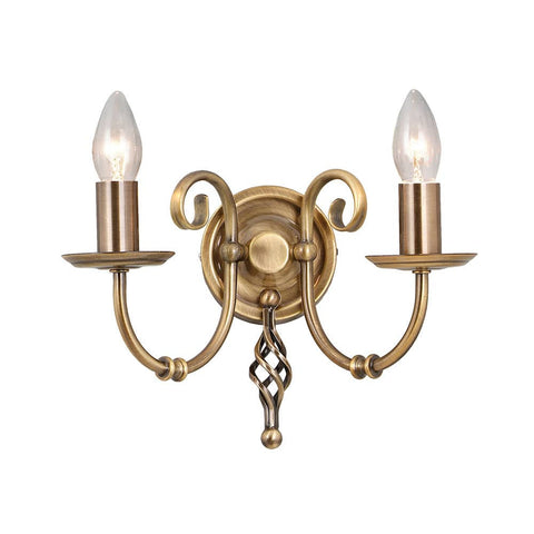 Elstead Artisan 2 Light Candle Wall Light Aged Brass ART2 AGD BRASS