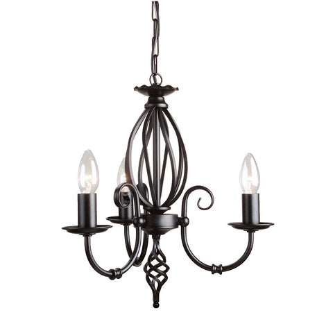 Elstead Artisan 3 Light Black Chandelier ART3 BLACK