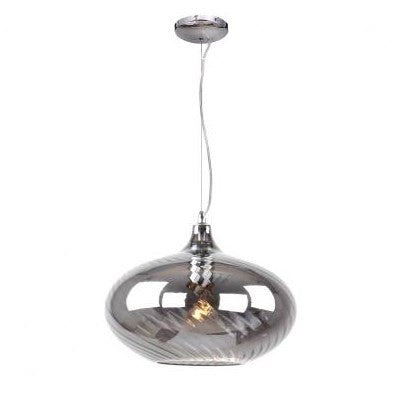 Azzardo Cindy Silver Grey Glass Ceiling Pendant Light MD5175B