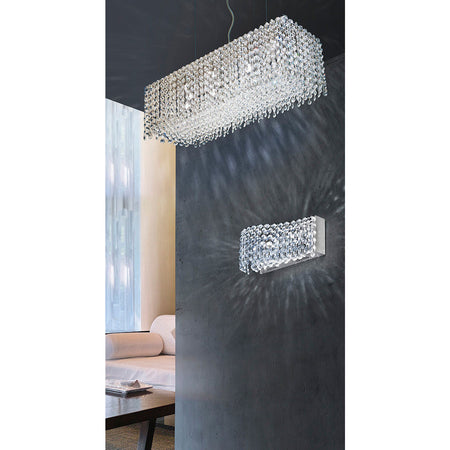 Azzardo Roma 8 Light Rectangle Box Crystal Chandelier Hallway MD-2116B-8