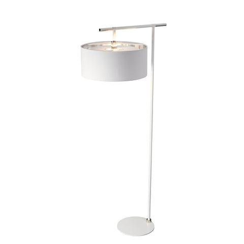 Elstead Balance 1 Light White/Polished Nickel Floor Lamp BALANCE/FL WPN