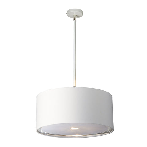 Elstead Balance 1 Light White/Polished Nickel Pendant Light BALANCE/P WPN
