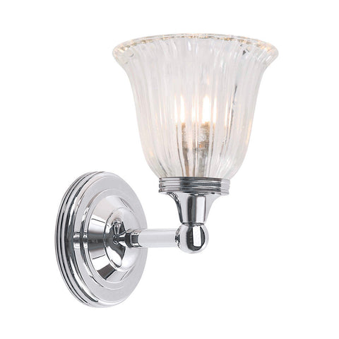 Elstead Austen 1 Light Glass Polished Chrome Wall Light BATH/AUSTEN1 PC