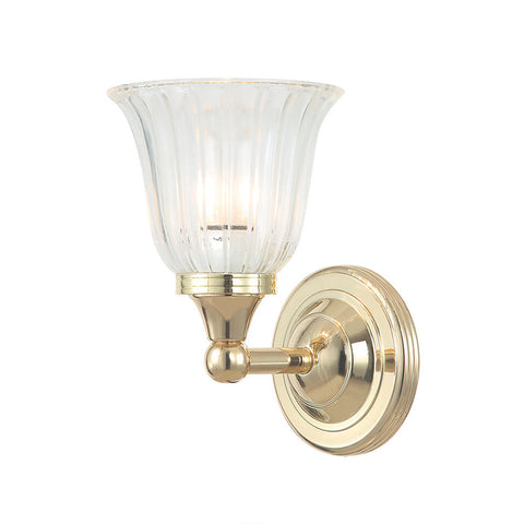 Elstead Austen 1 Light Glass Polished Brass Wall Light BATH/AUSTEN1 PB