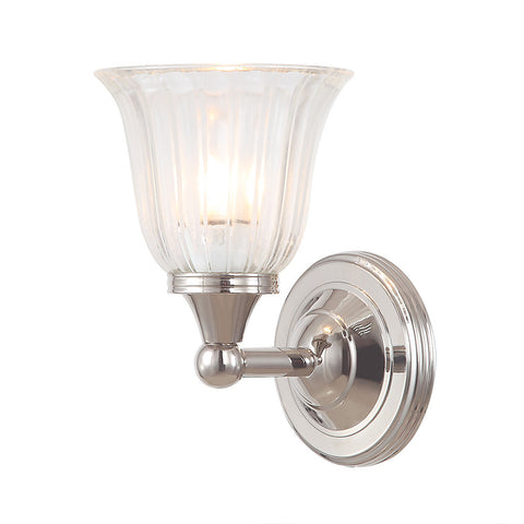 Elstead Austen 1 Light Glass Polished Nickel Wall Light BATH/AUSTEN1 PN