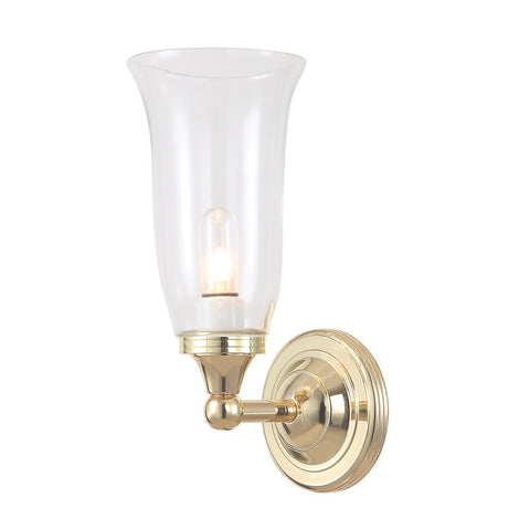 Elstead Austen 1 Light Fluted Glass Polished Brass Wall Light BATH/AUSTEN2 PB