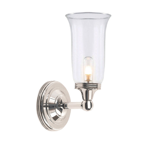 Elstead Austen 1 Light Fluted Glass Polished Nickel Wall Light BATH/AUSTEN2 PN