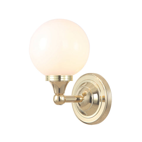 Elstead Austen 1 Light Glass Globe Polished Brass Wall Light BATH/AUSTEN4 PB