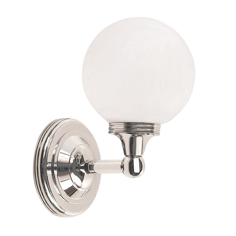 Elstead Austen 1 Light Glass Globe Polished Nickel Wall Light BATH/AUSTEN4 PN