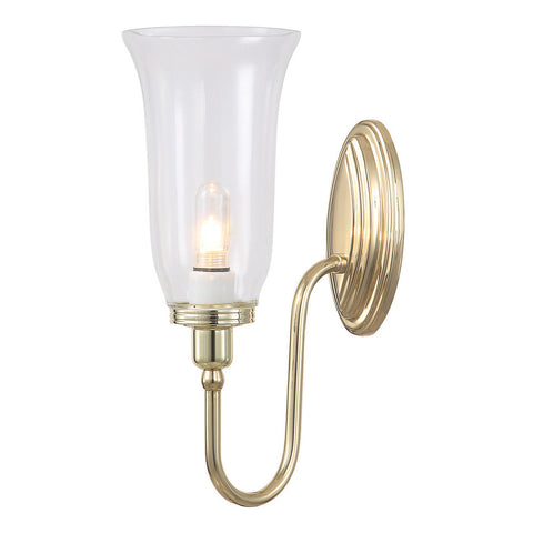 Elstead Blake 1 Light Fluted Glass Polished Brass Wall Light BATH/BLAKE2 PB