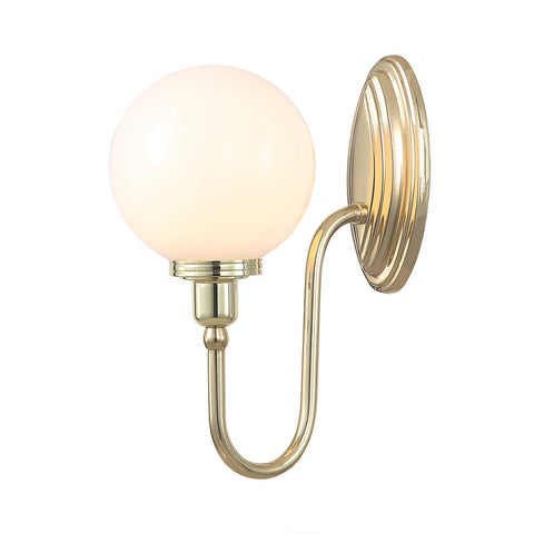 Elstead Blake 1 Light Glass Globe Polished Brass Wall Light BATH/BLAKE4 PB