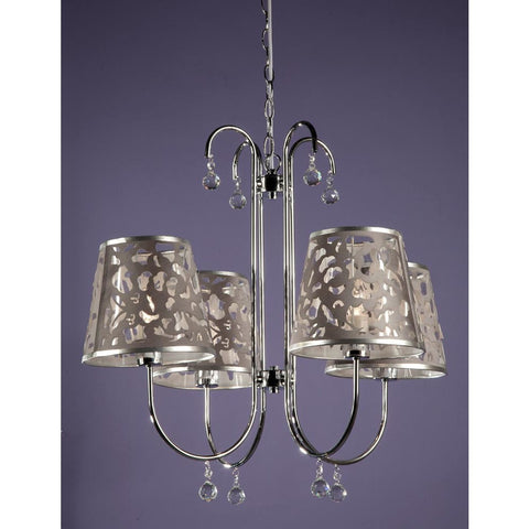 Chrome 4 Arm Chandelier with Filigree Shades C4241