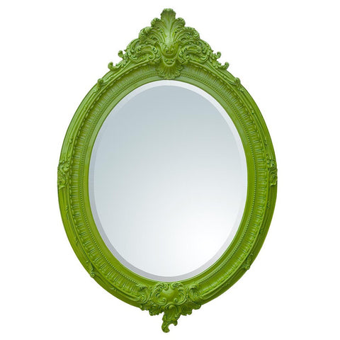 Bright Green Almandine French Rococo Oval Bevelled Wall Mirror CFR006-GRX-104-151
