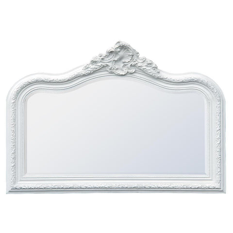 French Louis Philipphe White Clay Paint Overmantle Bevelled Mirror CFR089B-WH-125-92