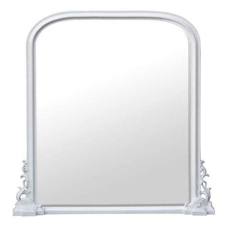 Georgiana White Clay Paint Georgian Style Bevelled Overmantle Mirror CFT599-WH-135-136