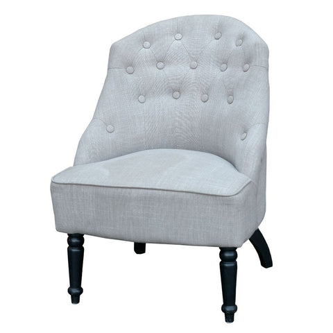 Wooden Slipper Chair Armless Upholstered Grey Chair CH-20-1