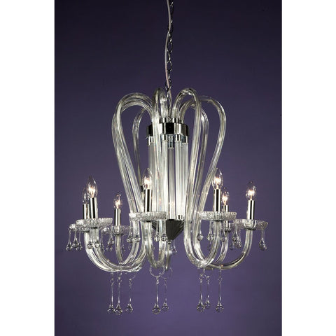 Chrome Candle 8 Arm Chandelier CHC-5466/8H-CL