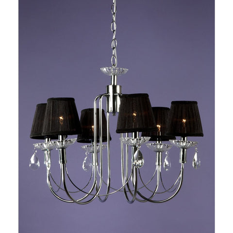 Chrome Black Shade 6 Arm Chandelier CHC-5476/6H-CH