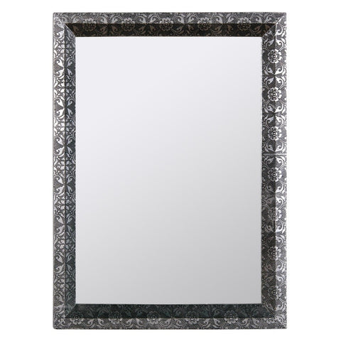Chaandhi Kar Black & Silver Embossed Rectangular Mirror CHK-4324-304