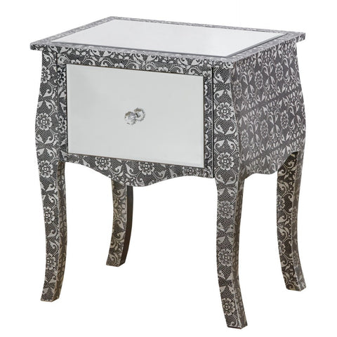 Chaandhi Kar Majestic Silver 1 Drawer Mirrored Bedside Cabinet Table CHK-4326-304