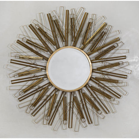Antique Gold Geometrical Sunburst Round Wall Mirror CMM084
