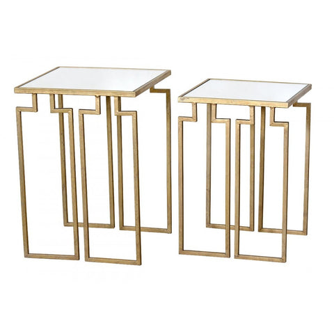 Gin Shu Parisienne Gold Metal Mirrored Glass Nest of Tables CMT002