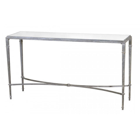 Gin Shu Colonial Metal Slim Mirrored Glass Console Table CMT006