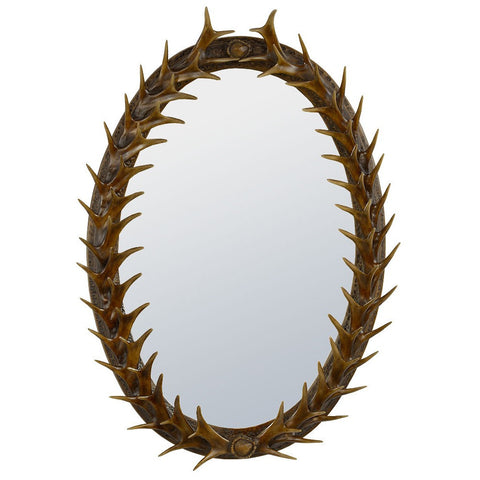 Brown Oval Antler Frame With Bevelled Wall Mirror CRB510-R01-24-36