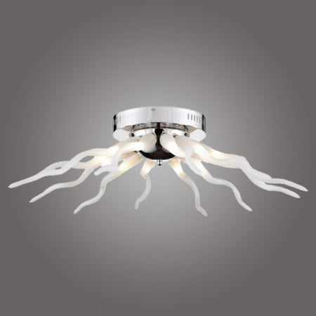 Azzardo Octopus 12 Light Chrome White Arm Ceiling Light Black Background MX-6170-12