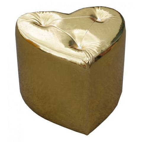 Gold High Gloss Heart Shaped Stool With Studded Detailing DYL-1511-1