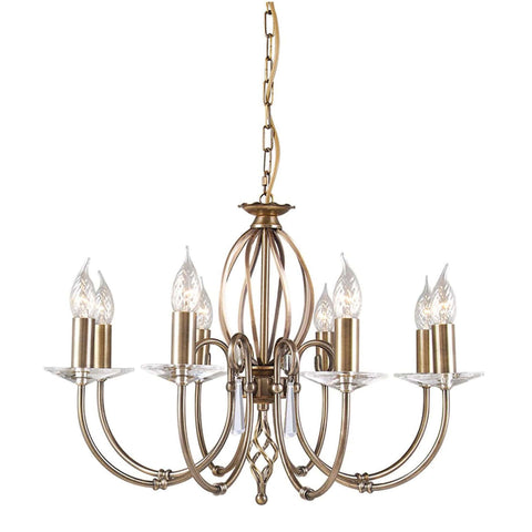 Elstead Aegean 8 Light Aged Brass Candle Chandelier AG8 AGED BRASS