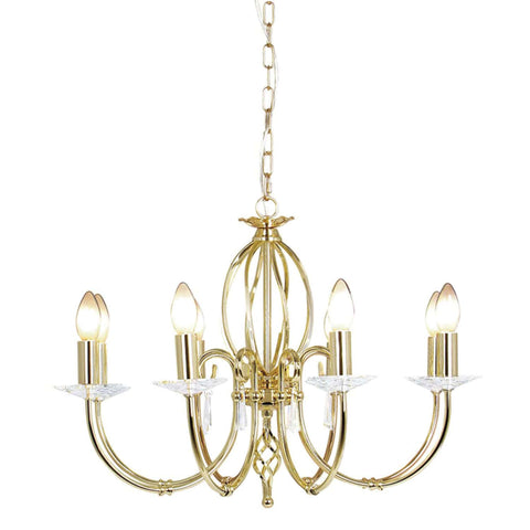 Elstead Aegean 8 Light Gold Brass Candle Chandelier AG8 POL BRASS