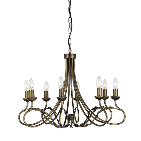 Elstead Olivia 8 Light Black Gold Candle Chandelier OV8 BLK/GOLD