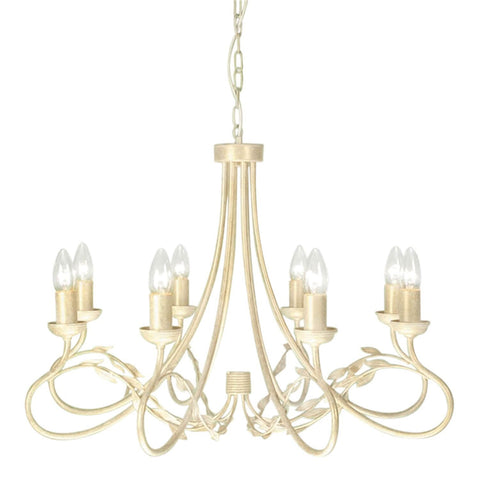 Elstead Olivia 8 Light Cream Gold Candle Chandelier OV8 IVORY/GOLD