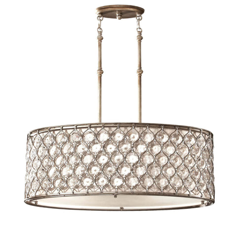 Feiss Lucia 3 Light Burnished Silver Oval Chandelier FE/LUCIA/P/A