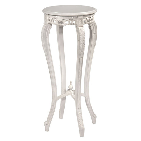Wooden White Plant Stand with Wooden Top FP01-WH