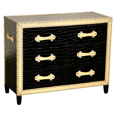 Faux Studded Crocodile Covered Chest of 6 Drawers in Black and Cream G09-B1258