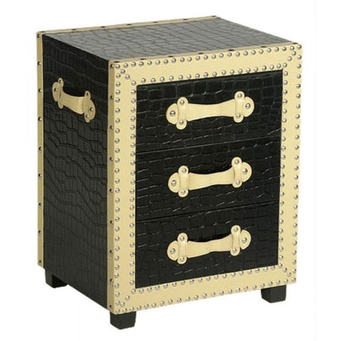 Black & Cream Moc Croc Design Studded Detail Chest of Drawers G09-B1261