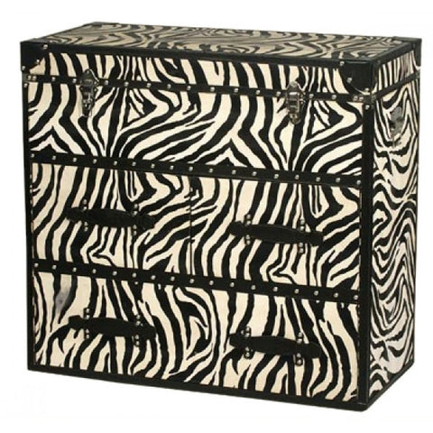 Trunk Chest with Zebra Print in Black 3 Drawers H2075