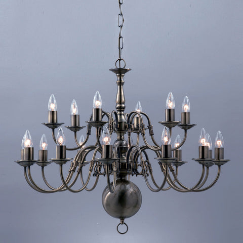 Impex Flemish 18 Light Metal Pewter Candle Chandelier BF00350/12+6/PW