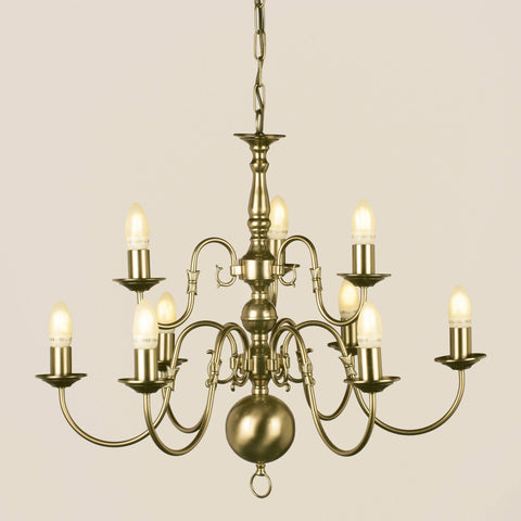 Impex Flemish 9 Light Candle Antique Brass Chandelier BF00350/6+3/AB
