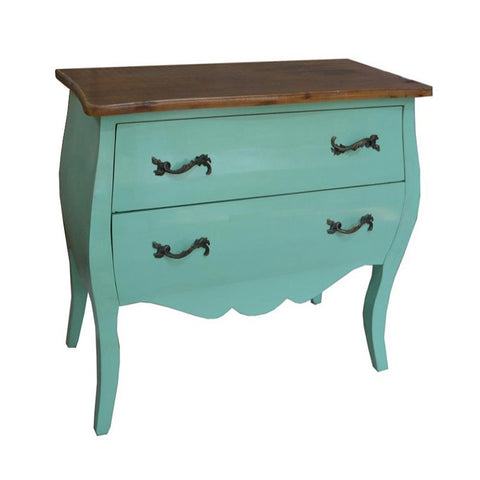 Shabby Chic Green Chest of Drawers Metal Handled with 2 Drawers INF-1003-GN