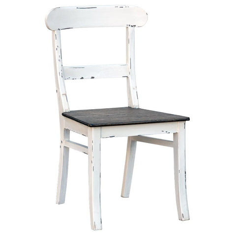 Shabby Chic White Distress Chair with Black Colour Seat JS-2019-WH