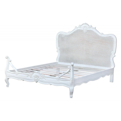 French Style Distress White Bed JS2105-160-DW