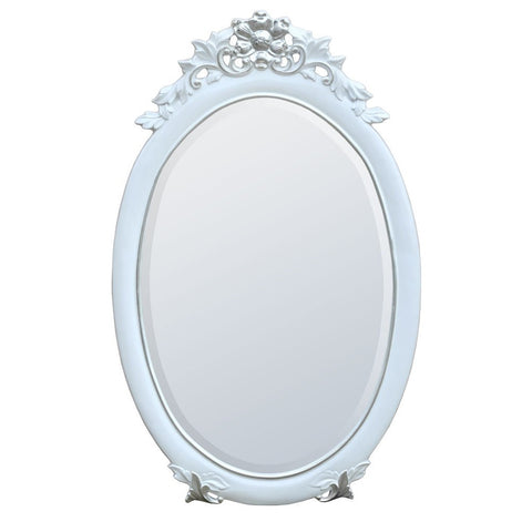 Classic Charm White and Silver Oval Wall Mirror MIR-012-WHSL