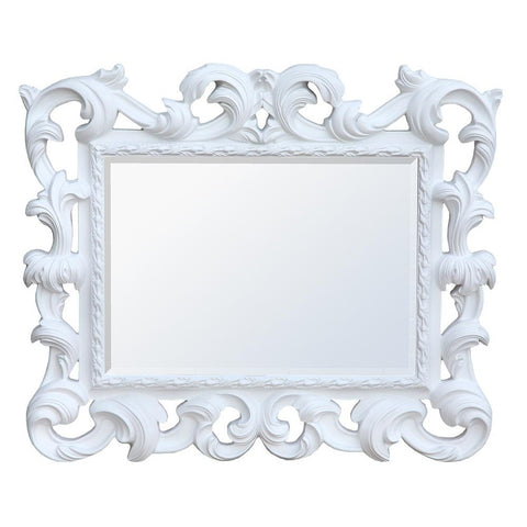Baroque White Overmantle Mirror MIW-014-WH