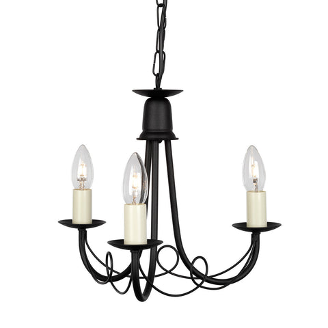 Elstead Minster 3 Light Black Chandelier MN3 BLACK